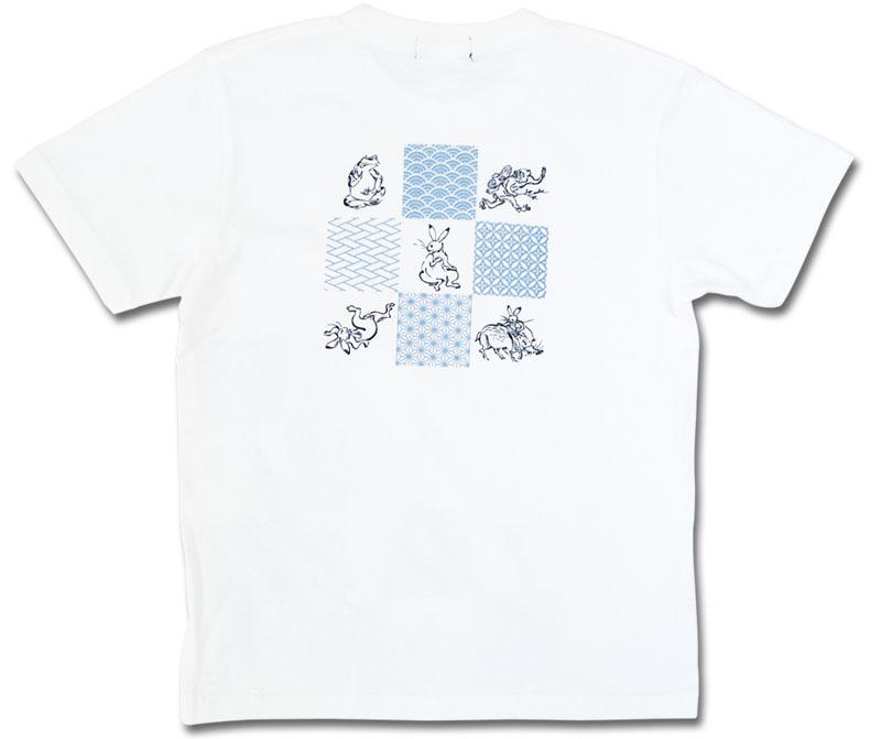 鳥獣戯画Tシャツ/江戸小紋/ホワイト/後