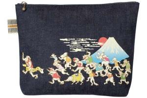 真田紐デニムポーチカラープリント/鳥獣マラソン(富士山)