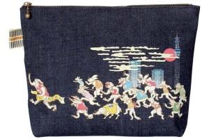 真田紐デニムポーチカラープリント/鳥獣マラソン(東京)