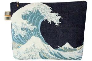 真田紐デニムポーチカラープリント/神奈川沖浪裏