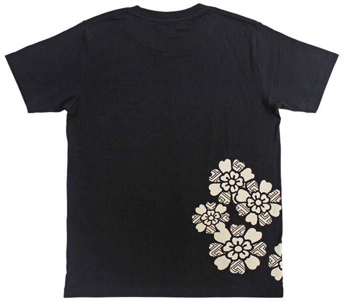 紗綾形桜Tシャツ/ブラック/後