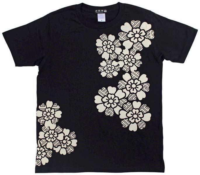 紗綾形桜Tシャツ/ブラック/前