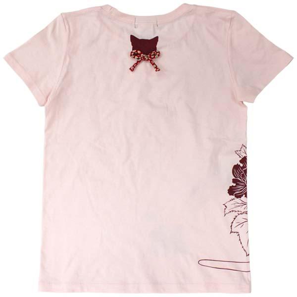 猫Tシャツ/ベビーピンク/後