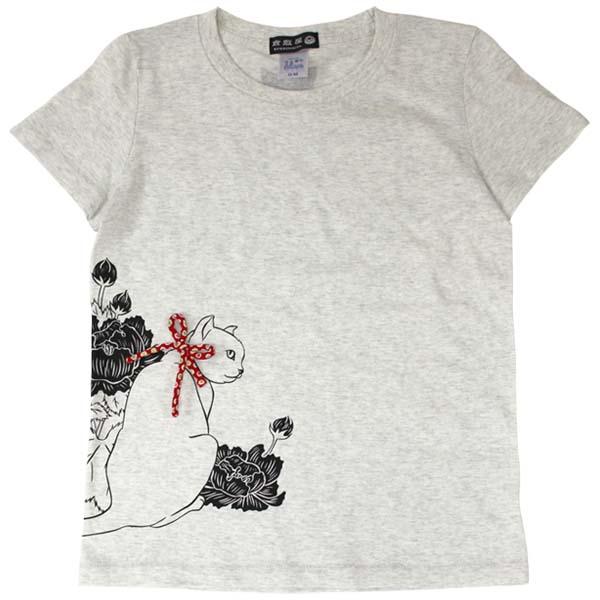 猫Tシャツ/オートミール/前