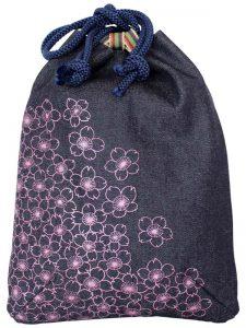 小紋柄デニム信玄袋/桜ピンク