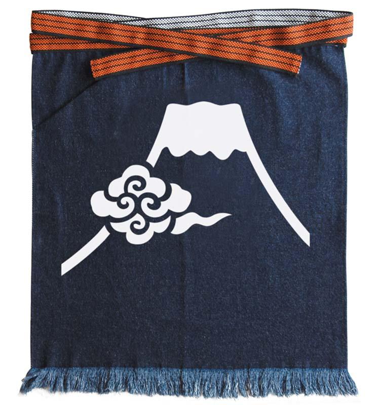 デニム帆前掛け/富士に雲