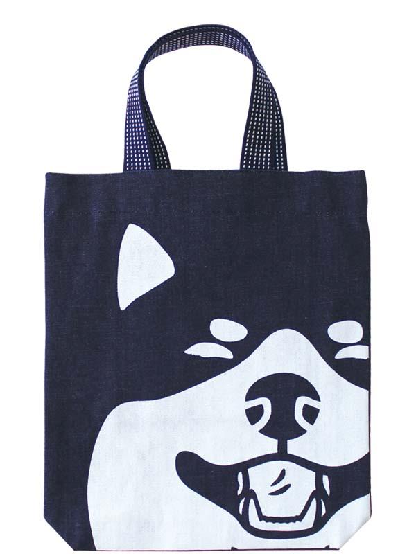 デカ顔インディゴマチ付バッグ/笑い犬顔