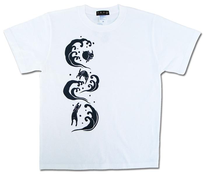 うさぎ波遊びTシャツ/ホワイト